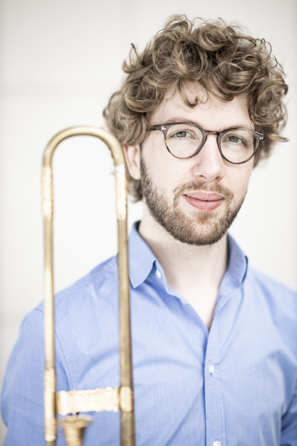 Portrait of Matthijs van der Moolen, sackbut or baroque trombone player of the Castello Consort. Photo by Foppe Schut.
