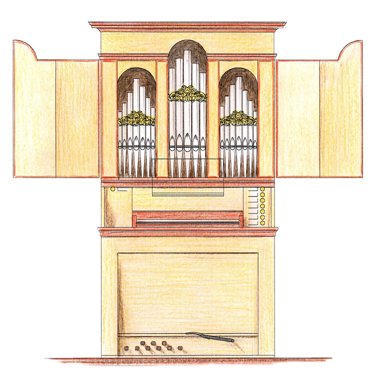 Drawing of the new organ of the Castello Consort, made by Orgelmakerij Reil.